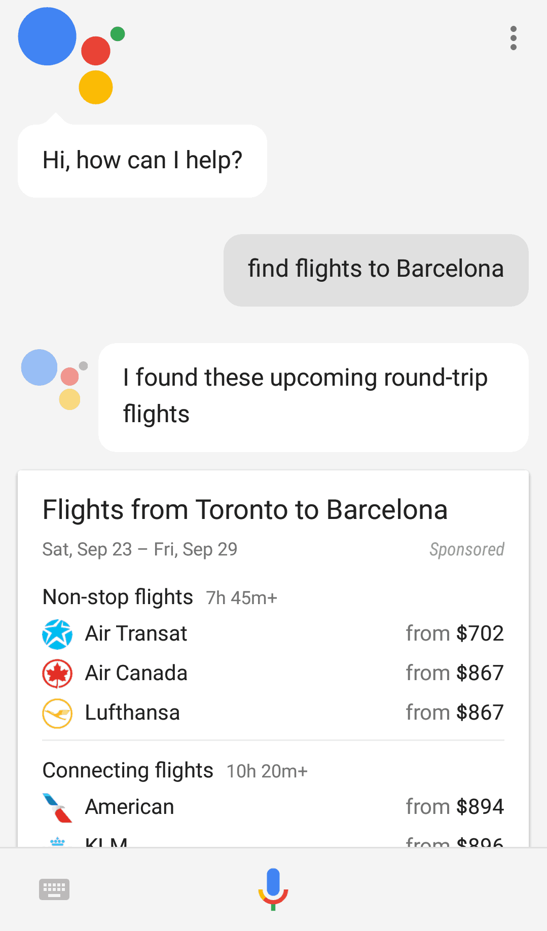 An example of Google Assistant's interface