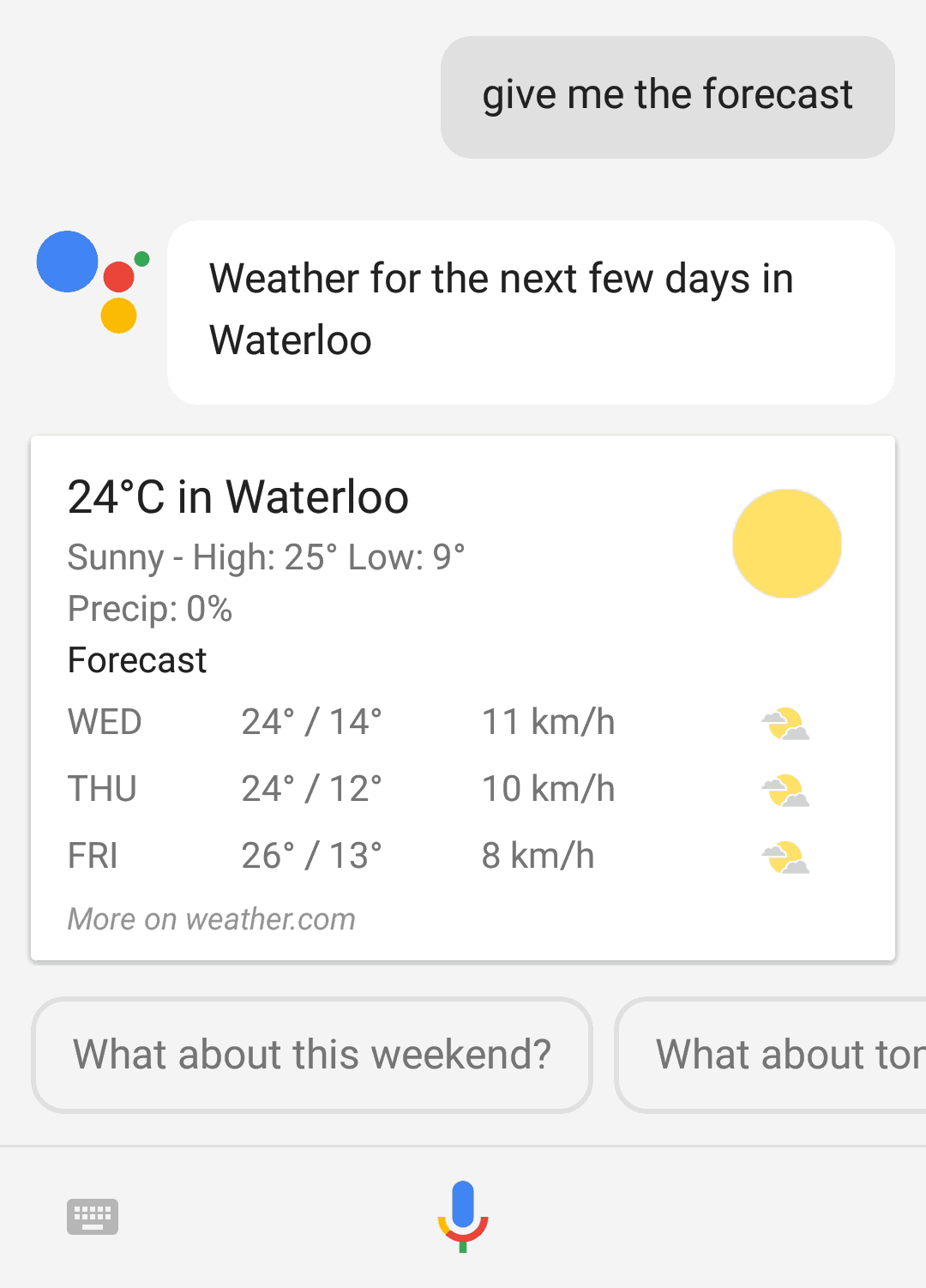 Google Assistant updating dynamic information