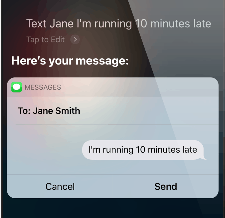 Using Siri to send a text message