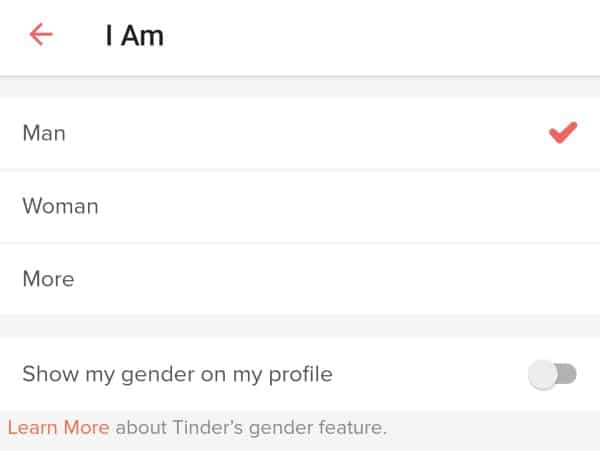 Tinder's open gender selection
