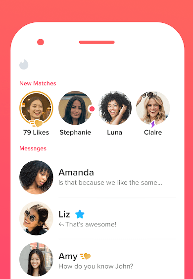 Example of the Tinder app