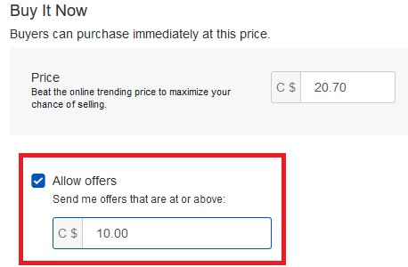 Allowing Best Offers using the quick listing tool
