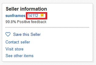An example of an eBay user's feedback score