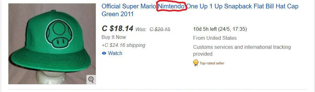 An eBay listing with a key word in its title misspelled