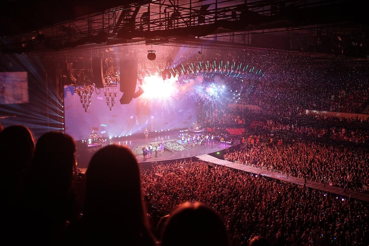 Elevated view of a rock concert inside an arena