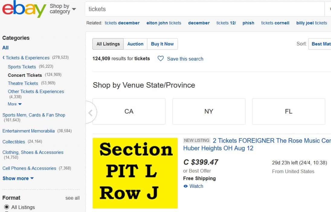 A screenshot of the tickets section of eBay