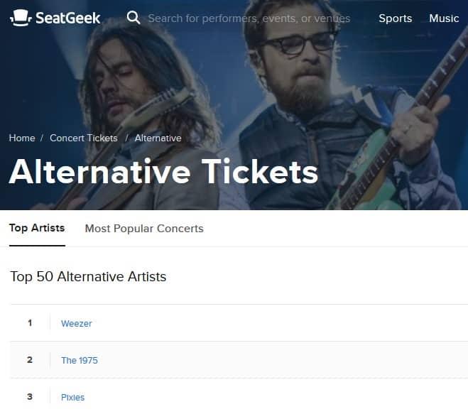 A screenshot of SeatGeek