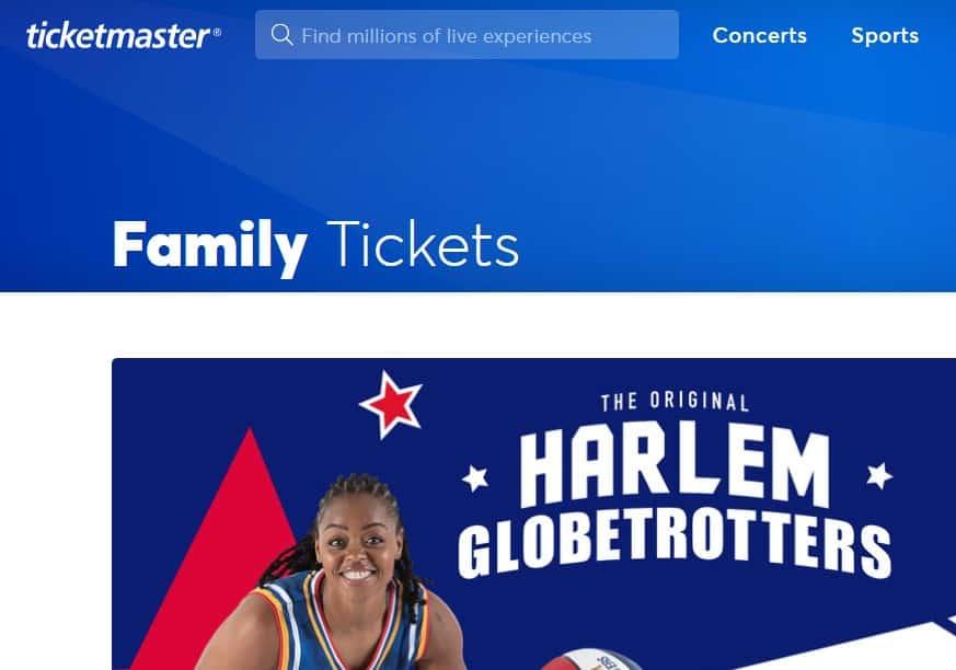A screenshot of Ticketmaster