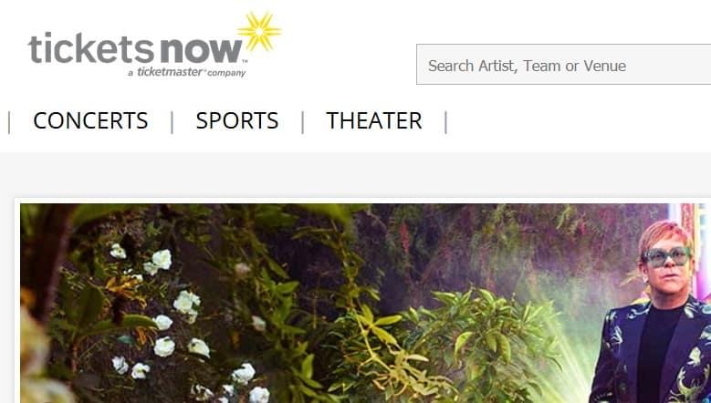 A screenshot of TicketsNow