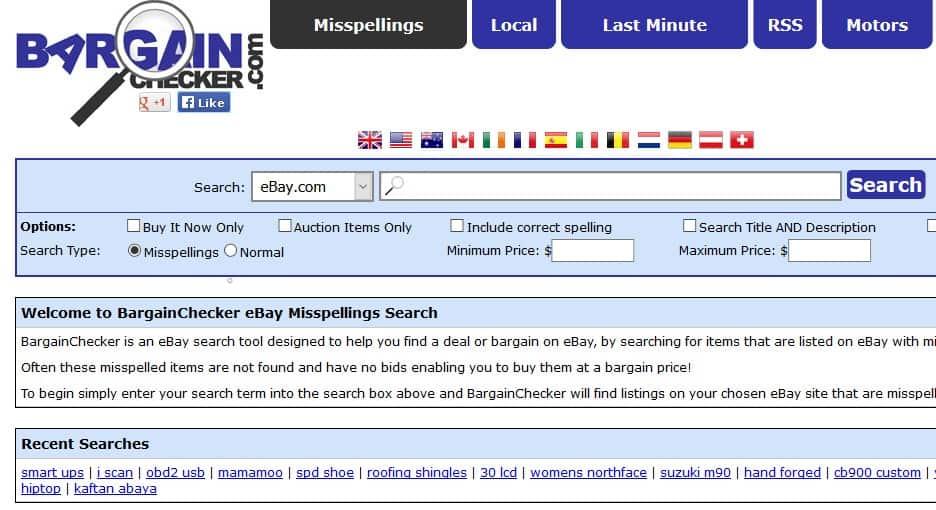 Screenshot of the website BargainChecker