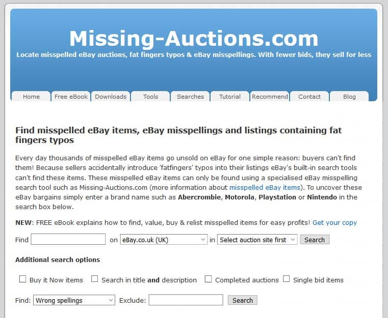 Screenshot of the website Missing-Auctions.com
