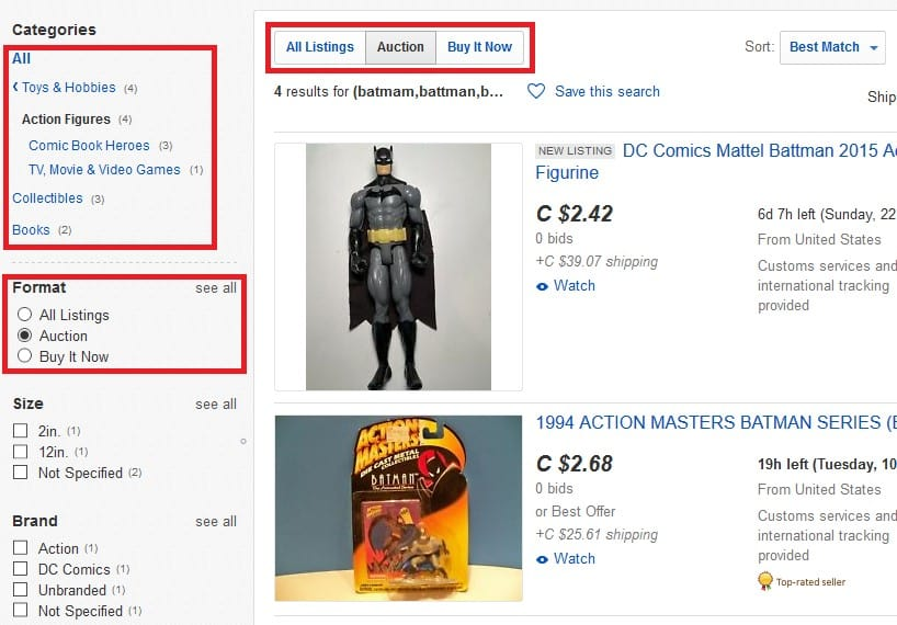 Limiting a spelling mistake search to auctions on action figures