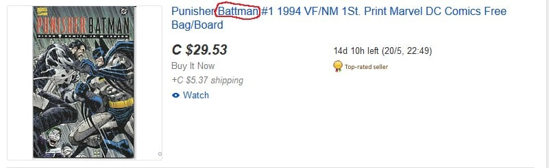 A listing on eBay with one of its keywords misspelled