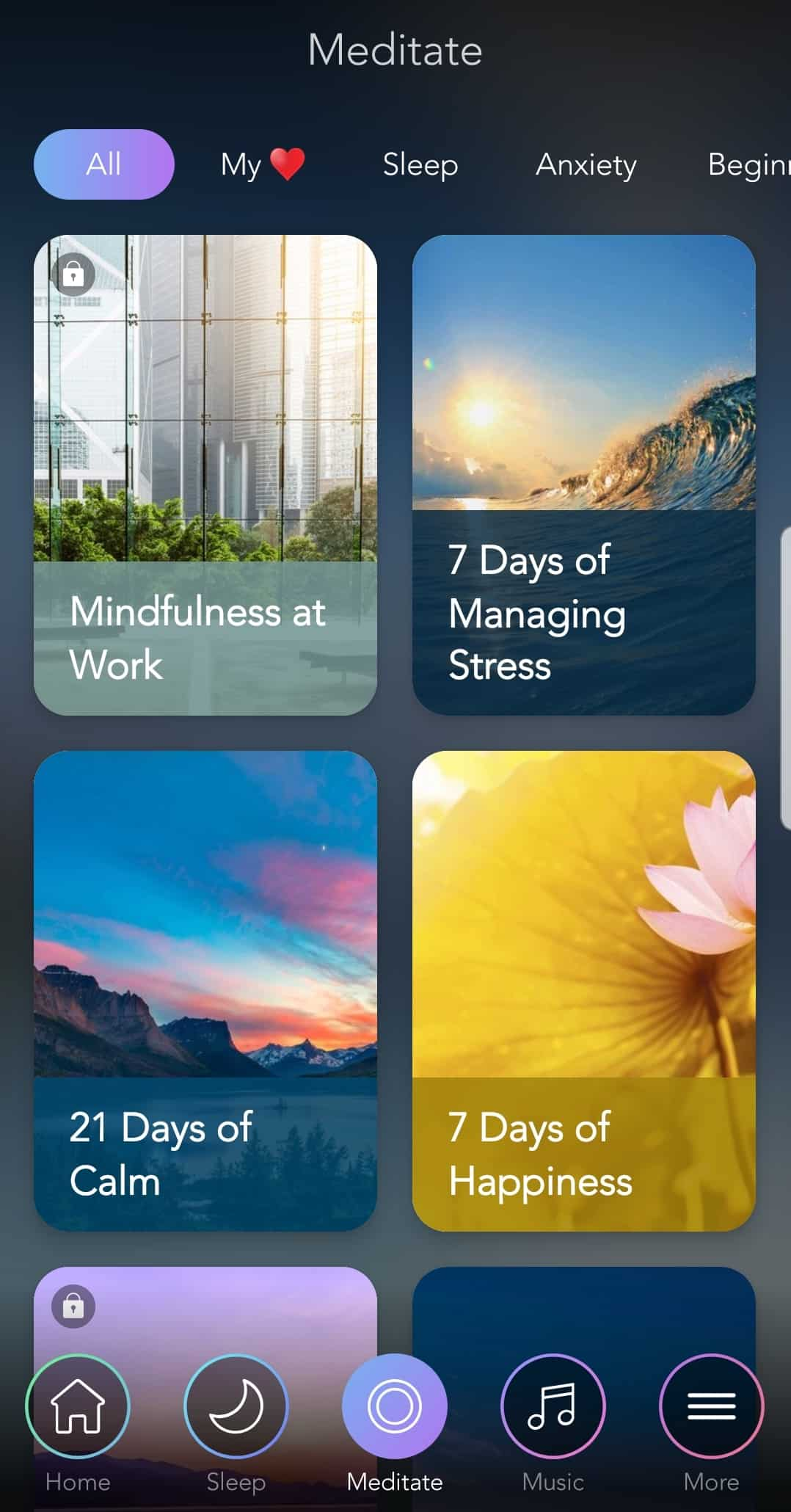 Calm meditation courses screenshot