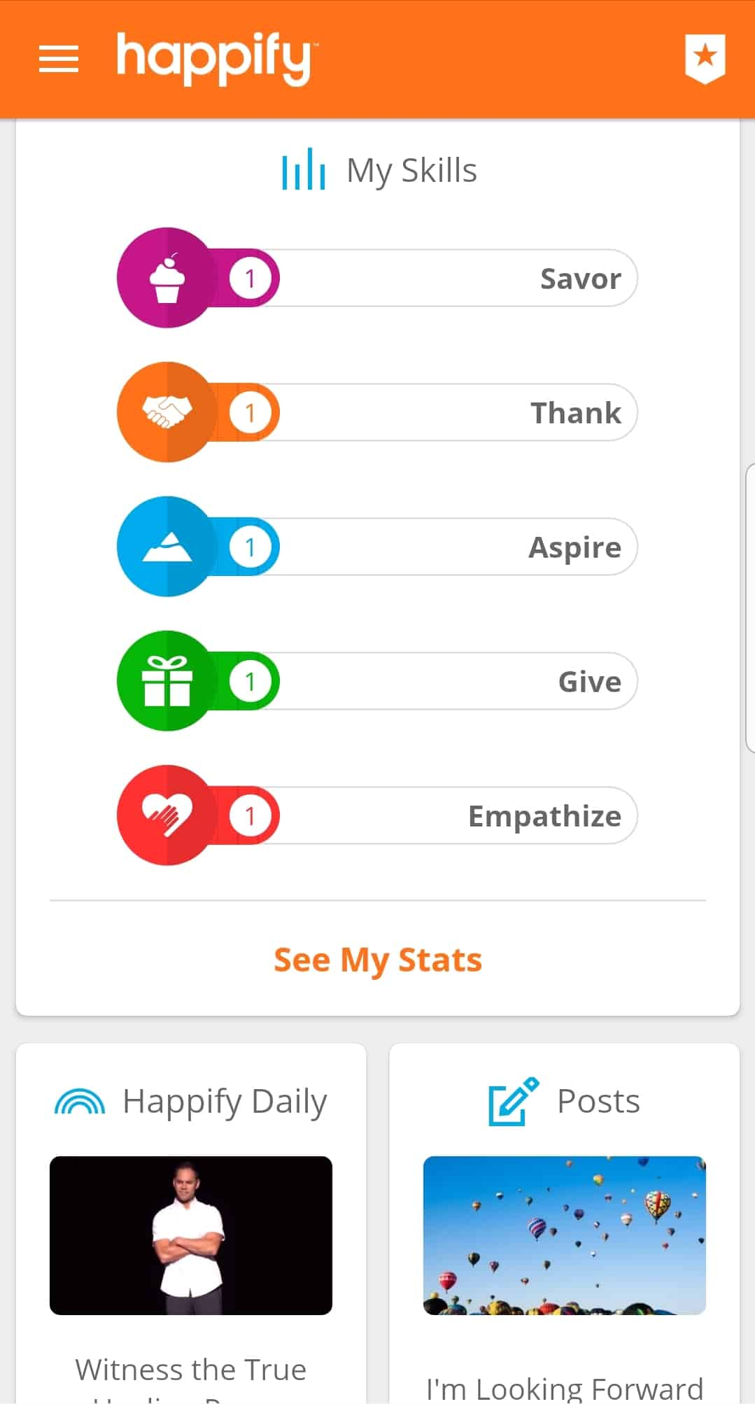 Happify interface page with skills and daily meditation