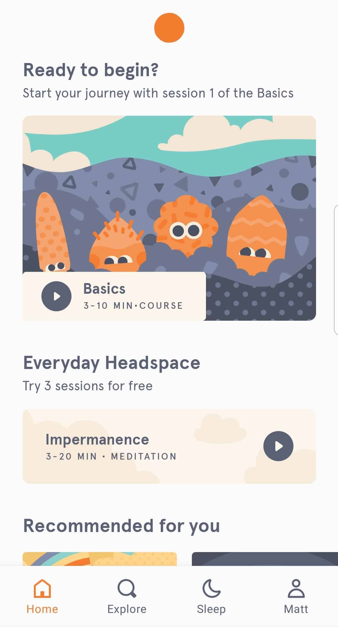 Headspace interface screenshot