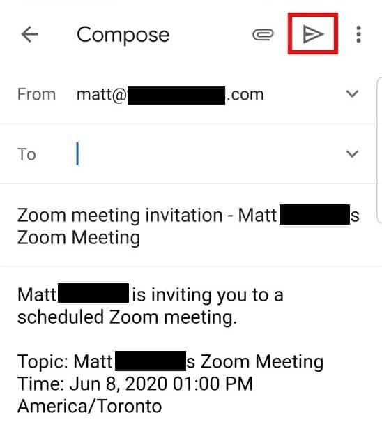 Android app Google Calendar invite participants email