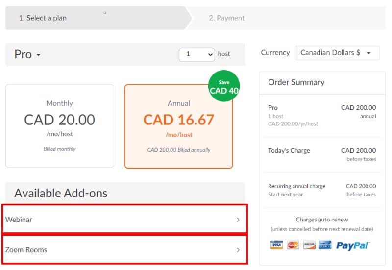 Browser checkout available add-ons tabs