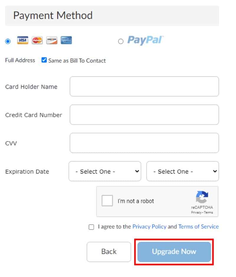 Checkout payment method with Upgrade Now