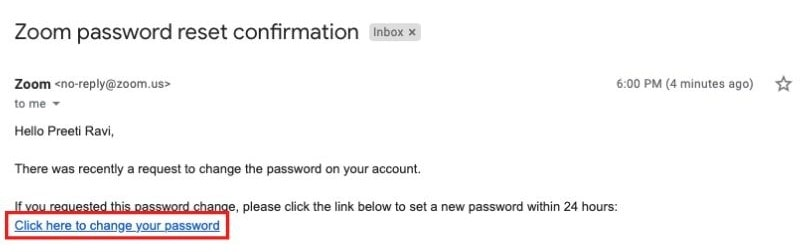 The link in the email you receive for resetting your Zoom password