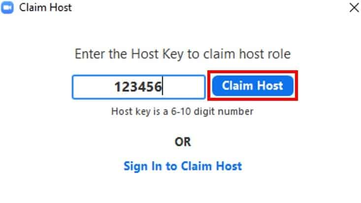 Claiming host confirmation button