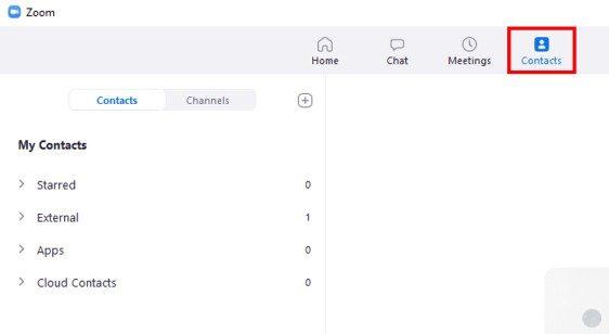 Desktop client Contacts screen