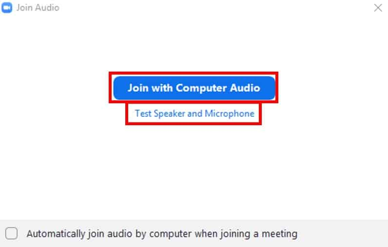Join with Computer Audio prompt