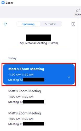 Desktop client Meetings screen showing meeting