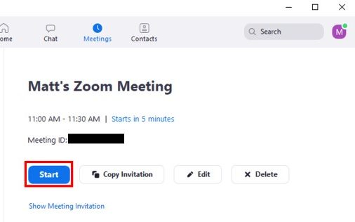 Desktop client Meetings screen showing meeting Start button