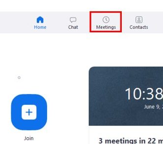 Desktop client Meetings menu button
