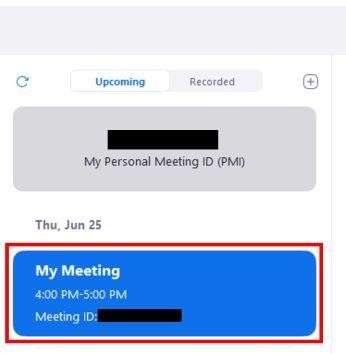 Meetings screen meeting button