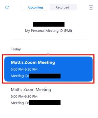 Desktop meeting list with meeting button