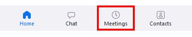 Menu Meetings button