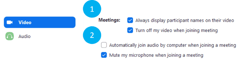 Video and audio settings for joining meeting