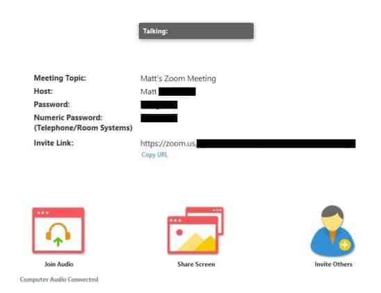 Meeting running on desktop