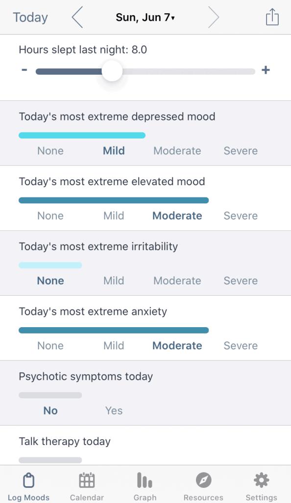 eMoods mood logging screen