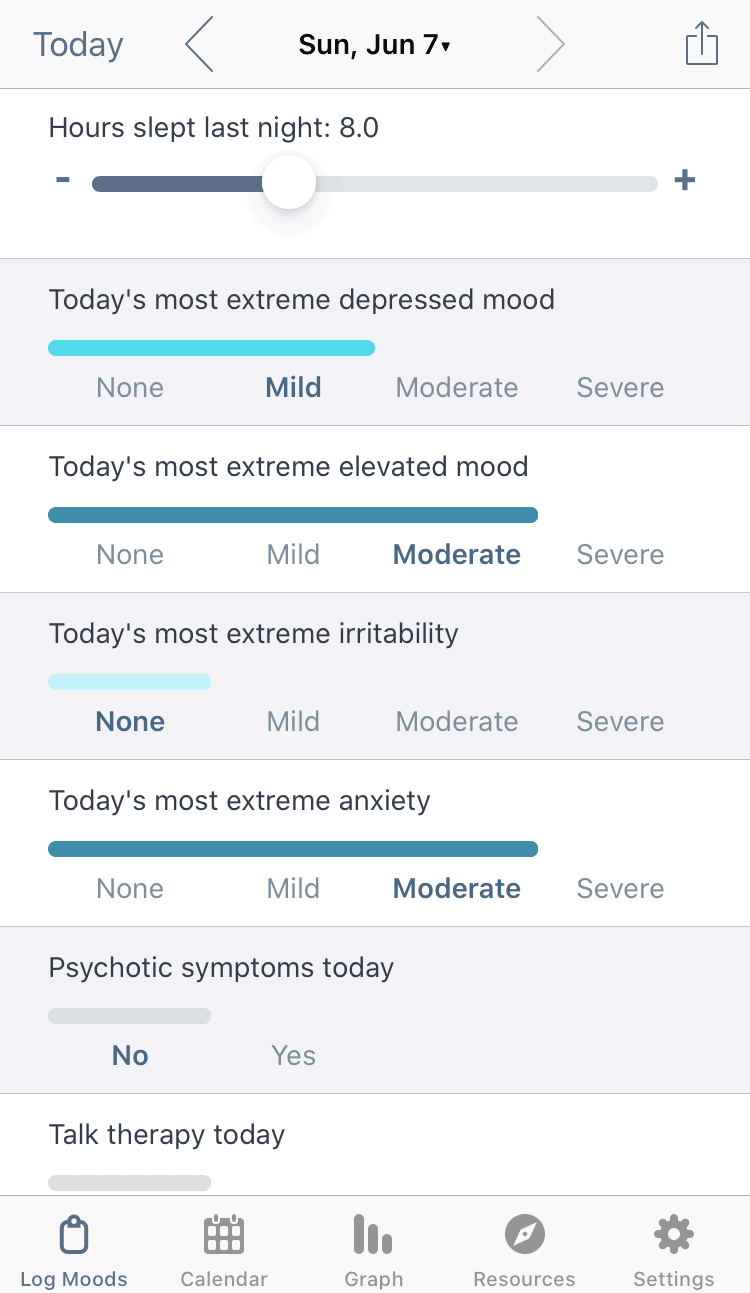 eMoods daily mood log