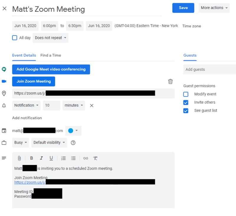 Google Calendar meeting event