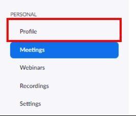 Web portal Profile button