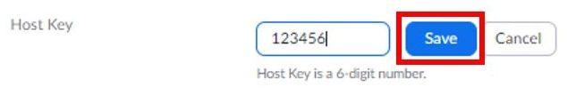 Enter host key save button