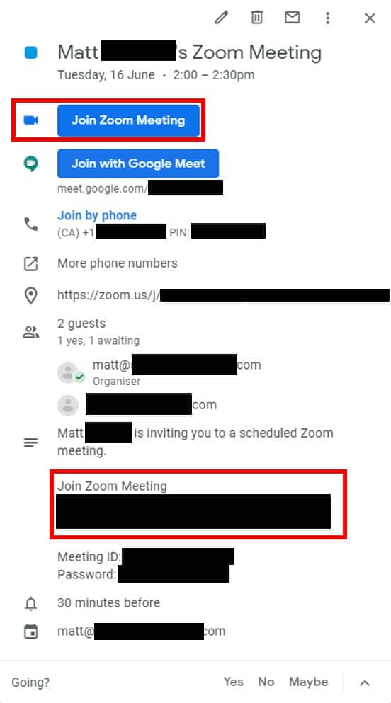 Meeting Google Calendar invitation