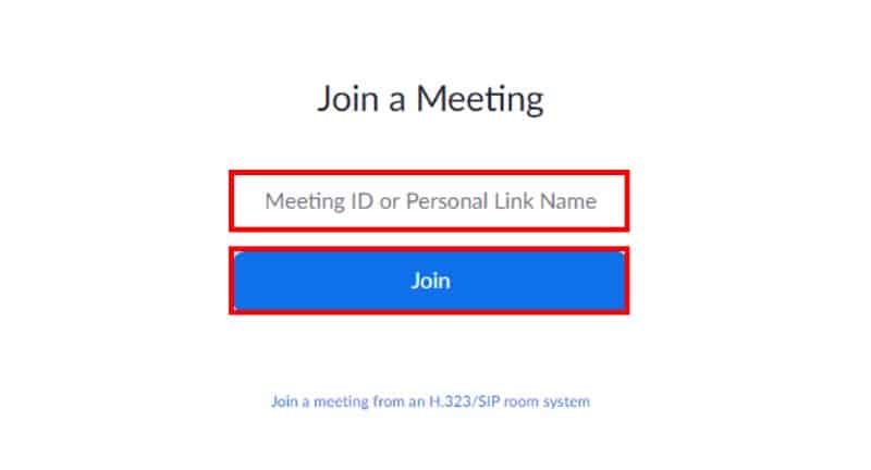 Browser Join a Meeting screen with Meeting ID and Personal Link Name field