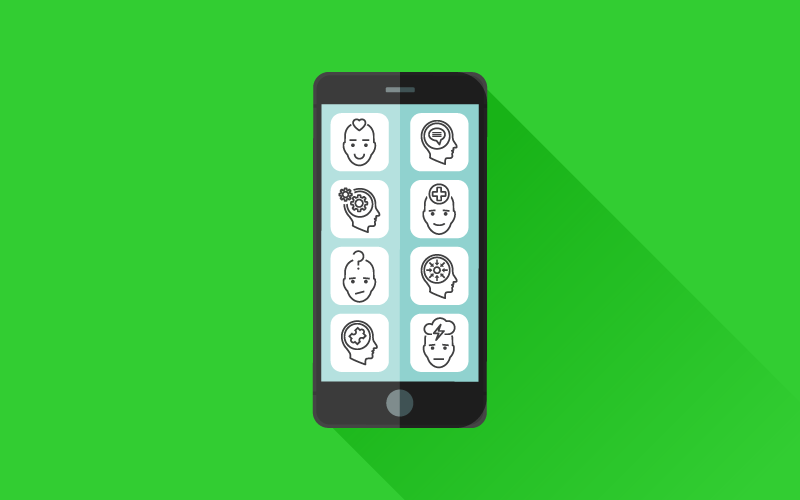 A graphic of a smartphone with different apps that have various faces as icons