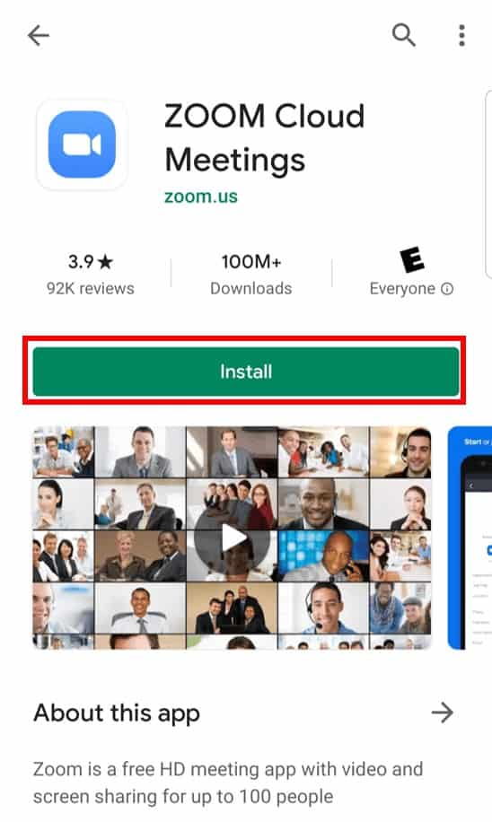 Zoom Cloud Meetings app download on mobile