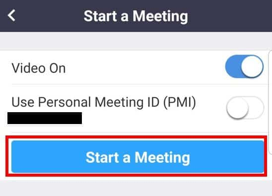 Mobile app Start a Meeting button