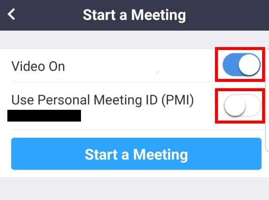 Mobile app start meeting options