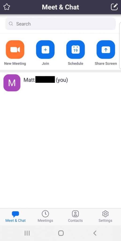 Mobile app default screen