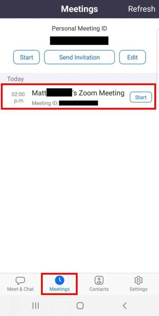Mobile app meetings list