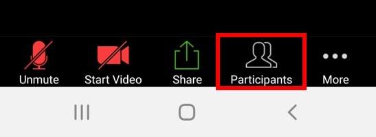 Mobile app participants button