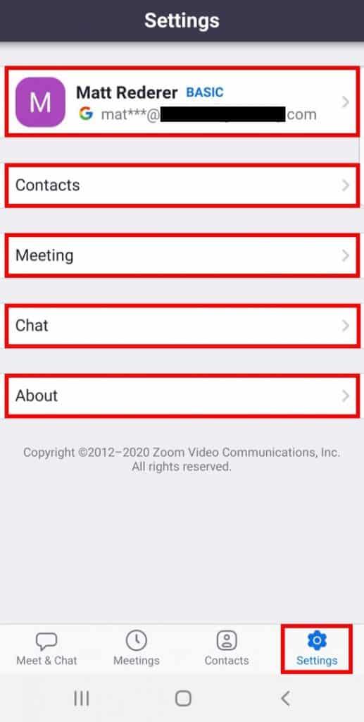 Mobile app settings screen